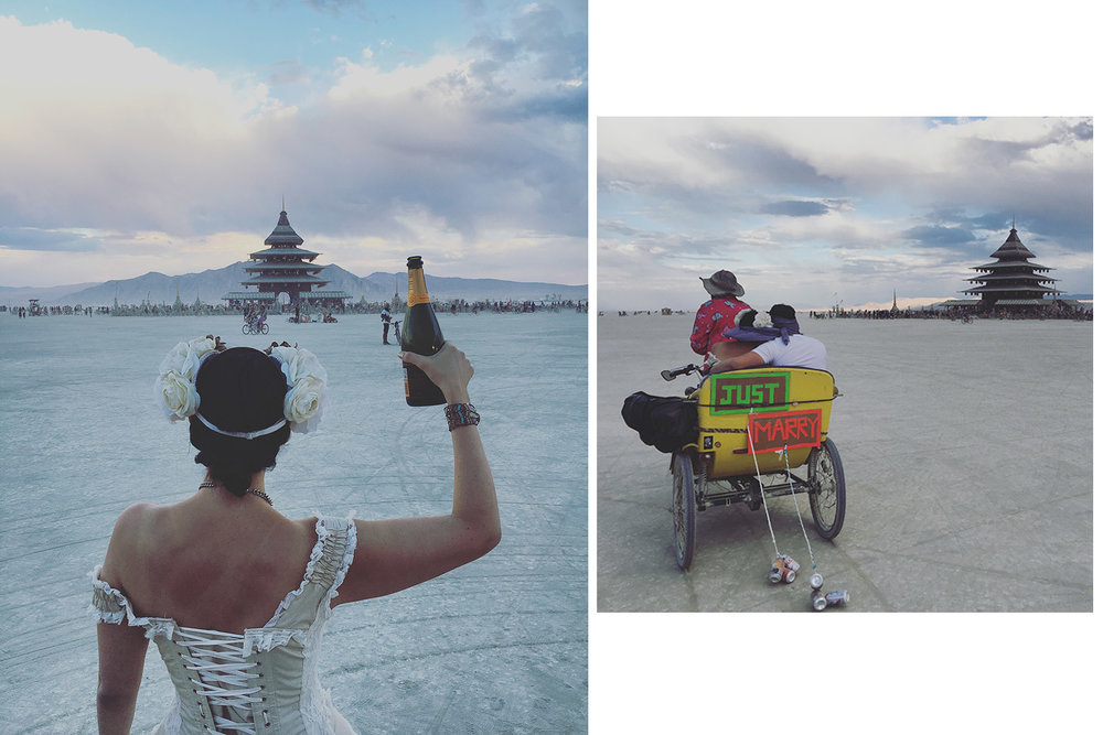 Popping some Veuve Clicquot to celebrate (photo by Cindy Chiang), getting biked around blindfolded by a campmate (photo by Chris Mullendore)