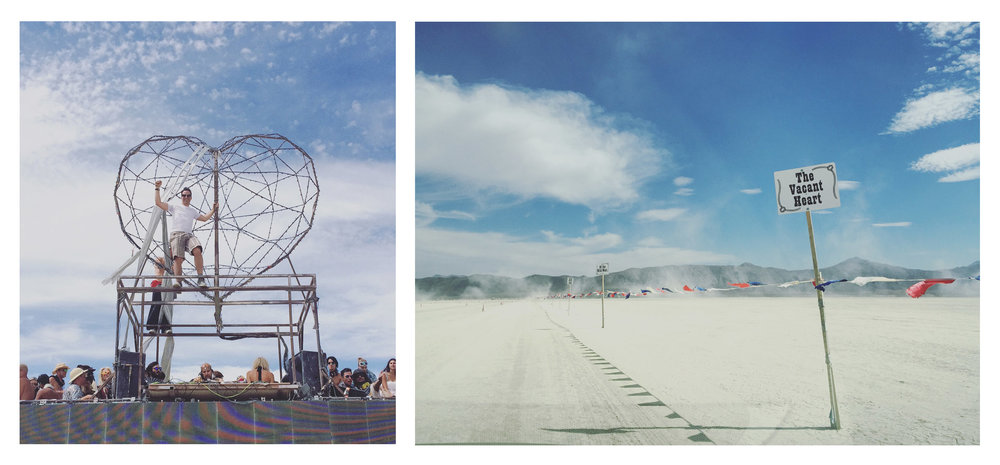 Phil dancing on top of the Robot Heart bus as Lee Burridge DJs (left), driving into Black Rock City (right)