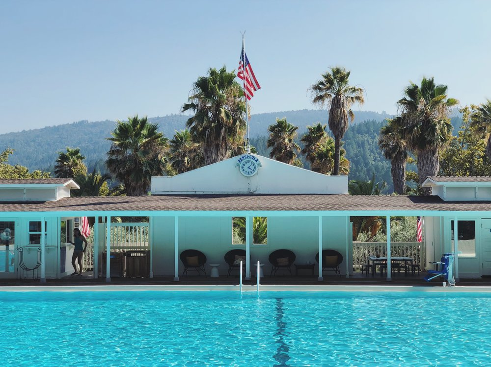 The Olympic-sized mineral hot springs pool. Love the retro styling of the clock !