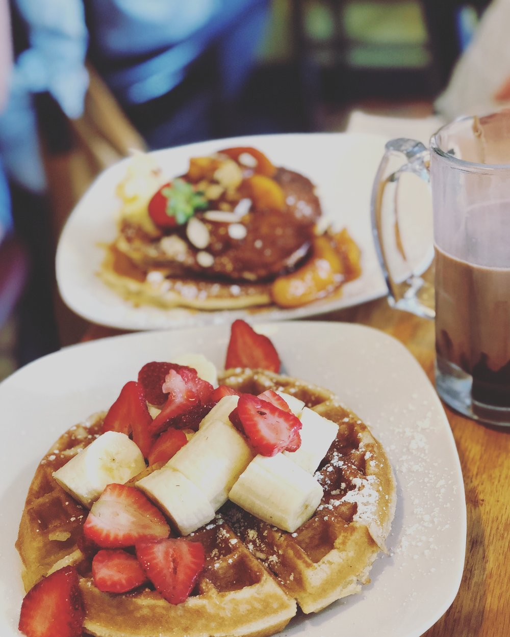You can't ever go wrong with Belgian waffles and fruit !