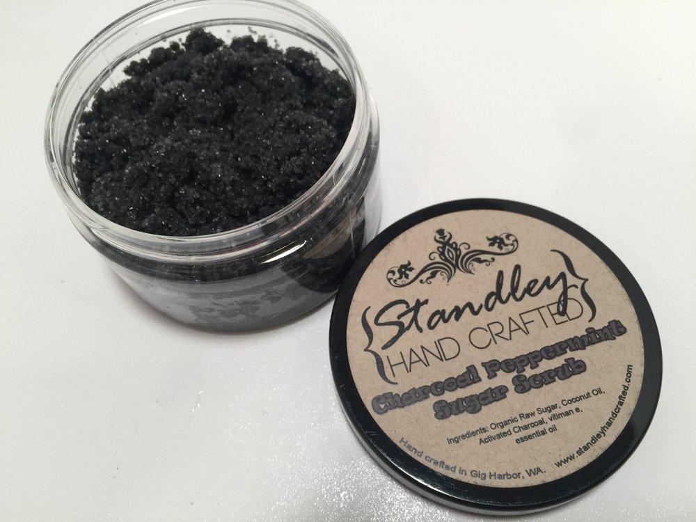 Charcoal peppermint sugar scrub