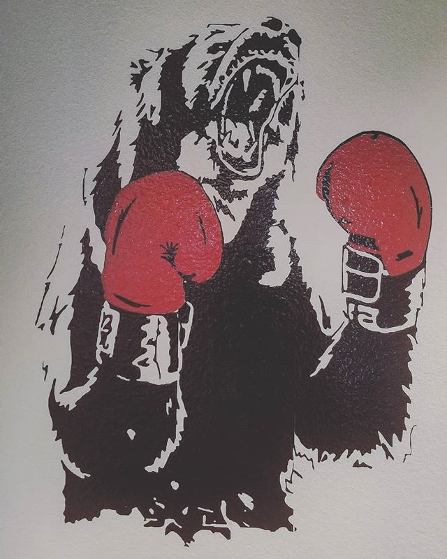 Finished up an install on this boxing bear.  Gloss Black silhouette with Gloss Red gloves.  You can check this out @occoffeenature. Its pretty sick. This vinyl art is for sale.  #boxingbear #boxing #5dSignworks #vinyl #graphics #design #printwork #stickers #decals #bear #nature #coffeenature