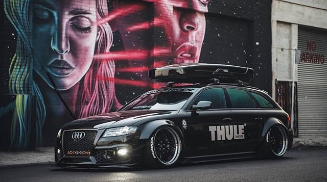 You dont need a ton of stickers to look good. @iacro_rilber always has the sickest Avant.  #5dSignworks #thule #accuair #agwheels #audi #avanta4 #bagged #sadisticironwerks #iacrophobia