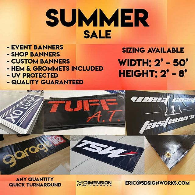 We are having a Banner Summer Sale.  From small Quantities to bulk amounts. If you need a designer, we got you.  #banners #5dSignworks #vinyl #graphics #design #printwork #vinylbanners