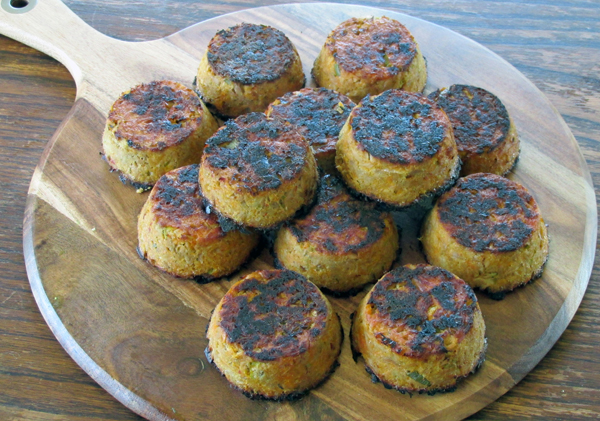 Baked tuna cakes fresh from the oven