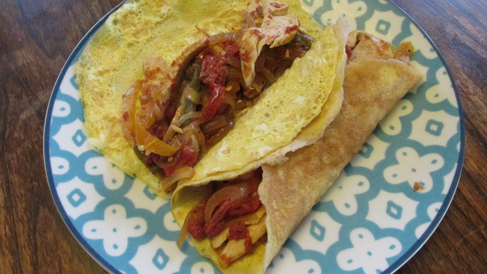 Egg Wraps with Fajita Vegetables