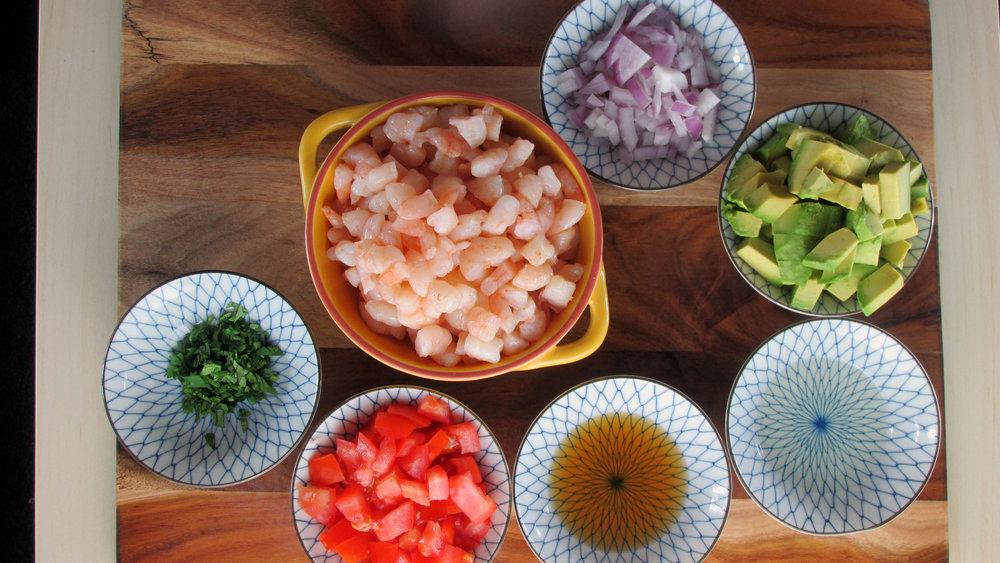 Prawn and Avocado Salad Ingredients