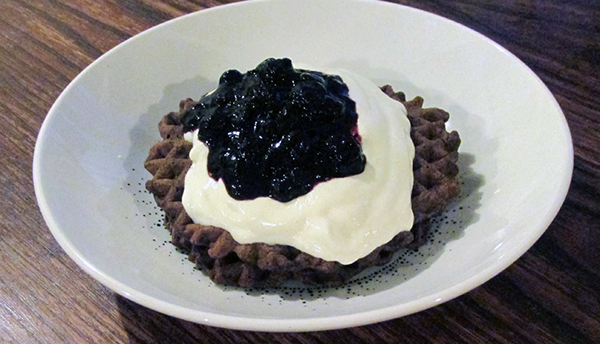 Chocolate Waffles with Yoghurt and Blueberries
