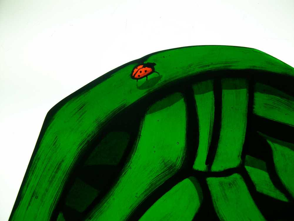 Custom Stained Glass Window with Lady Bug