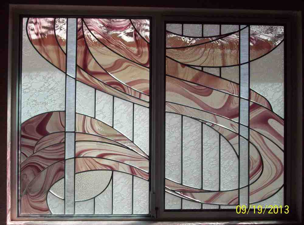 Custom Stained Glass Window with Abstract Design