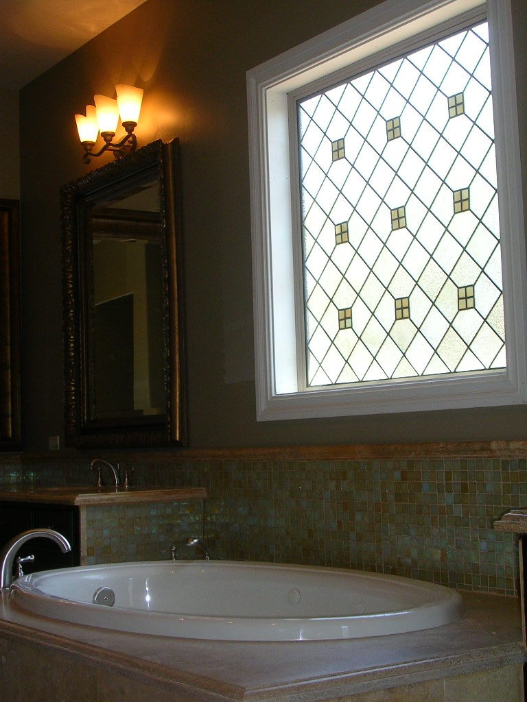 Custom Stained Glass Window for Bathroom