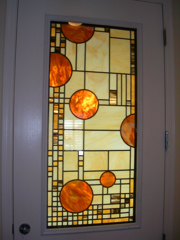 Modern Stained Glass Window in Front Door