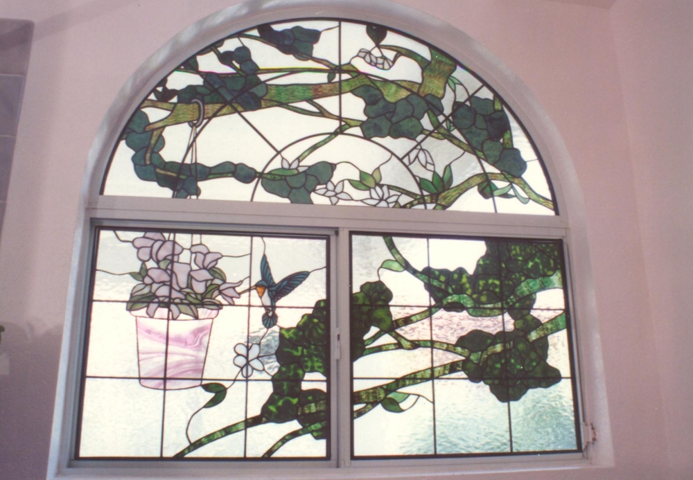 Stained Glass Window, Tree and Birds