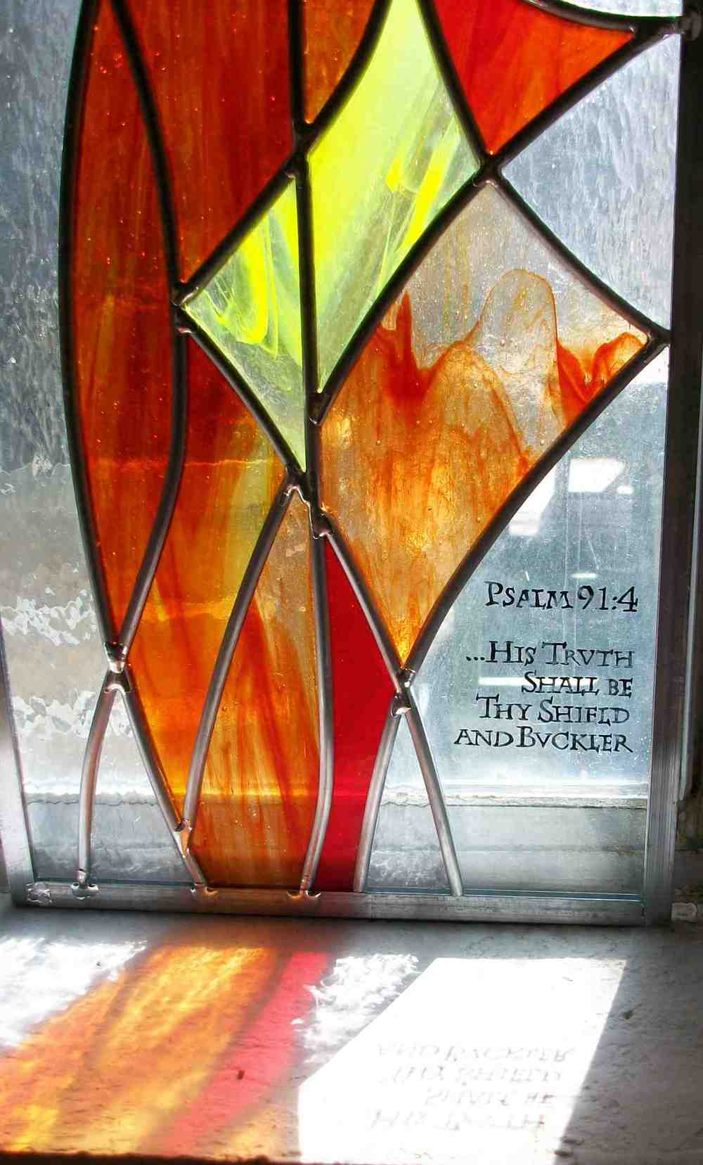 Reflection of Stained Glass Window