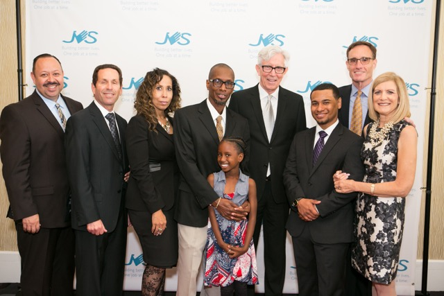 (L-R) Corporate Honoree Richard S. Lopez, Jr. of Universal Protection Service; JVSLA CEO Alan S. Levey; Inspiration Honorees Deborah Smith and Roland Williams with daughter Elliana; Event Host Fritz Coleman of NBC4; Inspiration Honoree James Acosta; JVSLA Board President Harris Smith; JVSLA COO Claudia Finkel