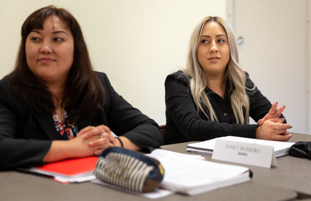 Janet Romero (right) inside of the JVS BankWork$ classroom. Photo – Jonathan Barenboim