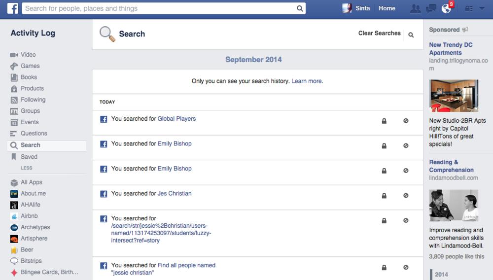 Facebook Keeps a Log of Your Stalking History
