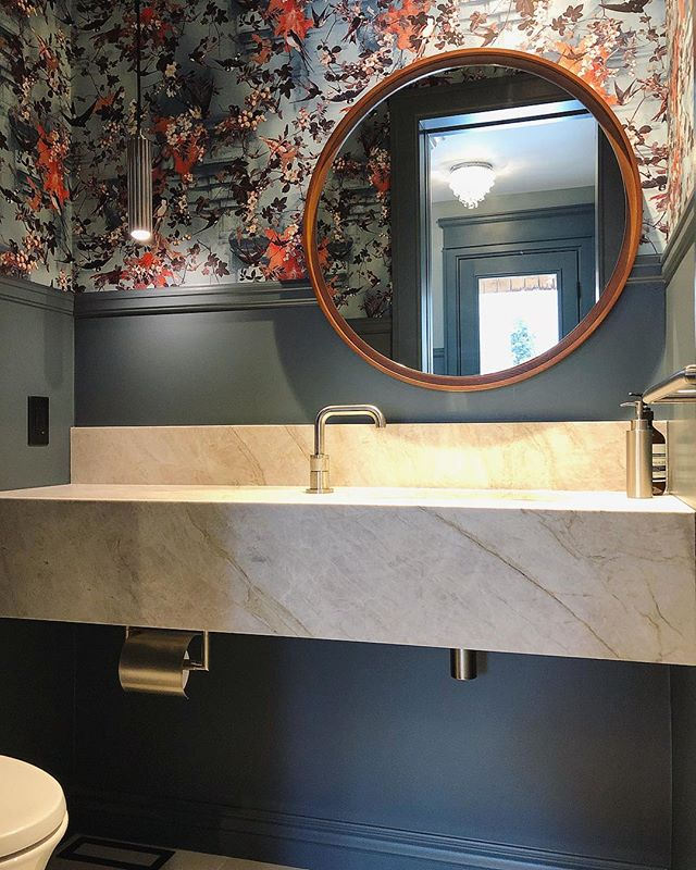 Loving every bit of this powder room. 💕 What a great vision by @beauparlantdesign  Material: Taj Royal Leathered Marble . . .  #countertop #kitchen #kitchencountertop #vanity #washroom #bathroom #commercial #residential #bars #fireplace #fireplacesurround #tubdeck #marble #granite #quartz #quartzite #design #interiordesign #cabinet #home #luxury