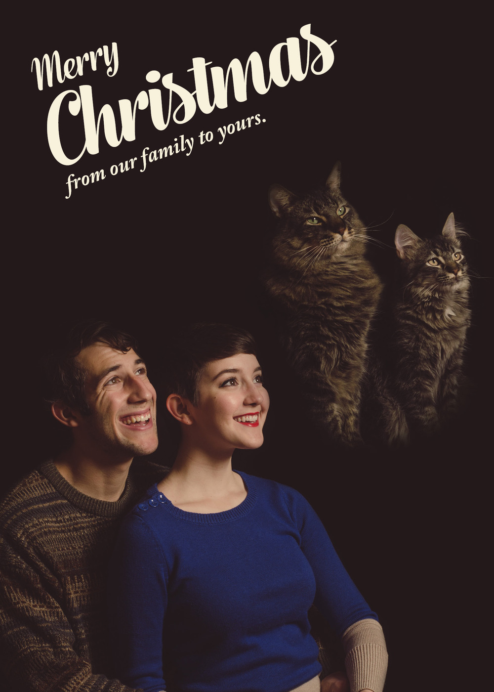 Retro Cat Christmas Card - COPYRIGHT Regan Shorter