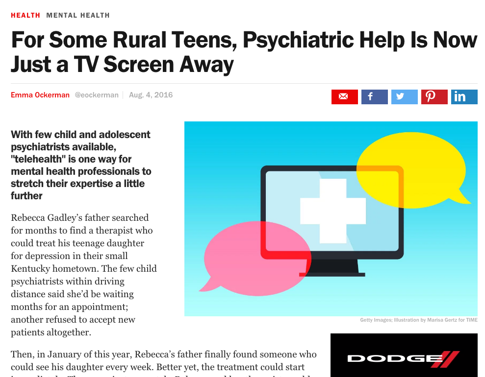 For Some Rural Teens, Psychiatric Help Is Now Just a TV Screen Away