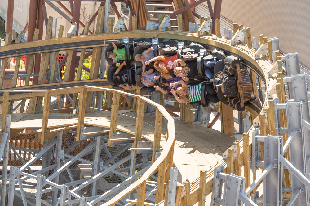 An exciting image of an overbanked turn on Switchback Roller Coaster.