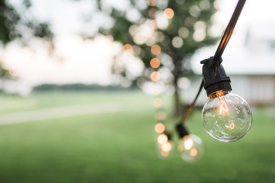 String lighting for outdoor weddings and receptions