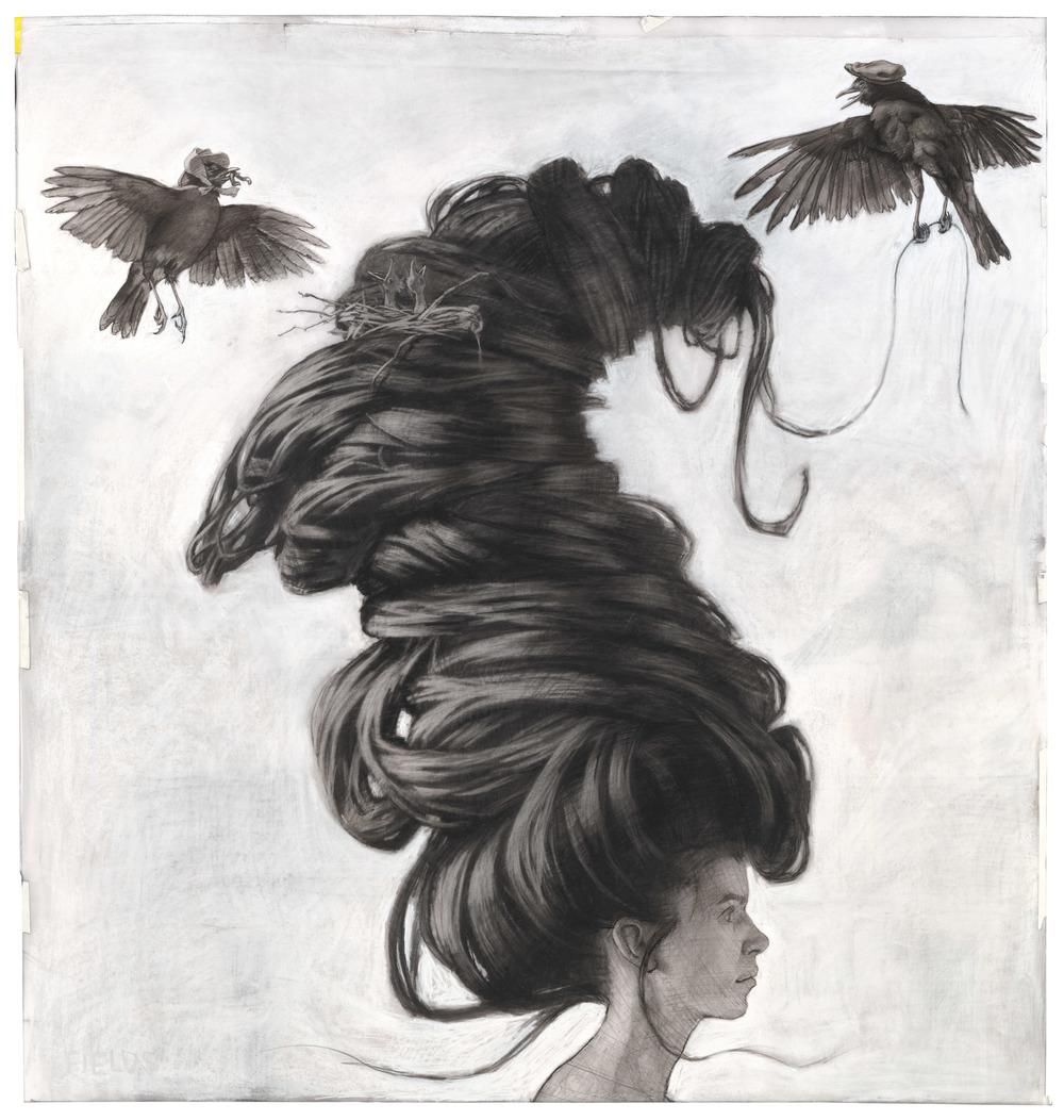 Birds Nest, intaglio print 15.5 x 15