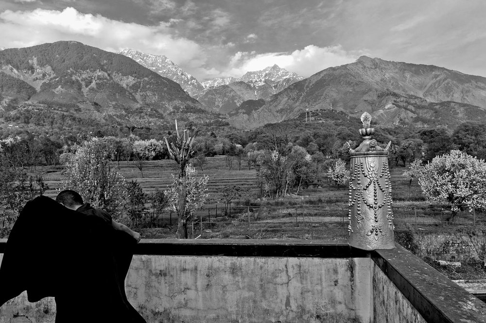 View of the Himalayas from the Dolma Ling convent balcony