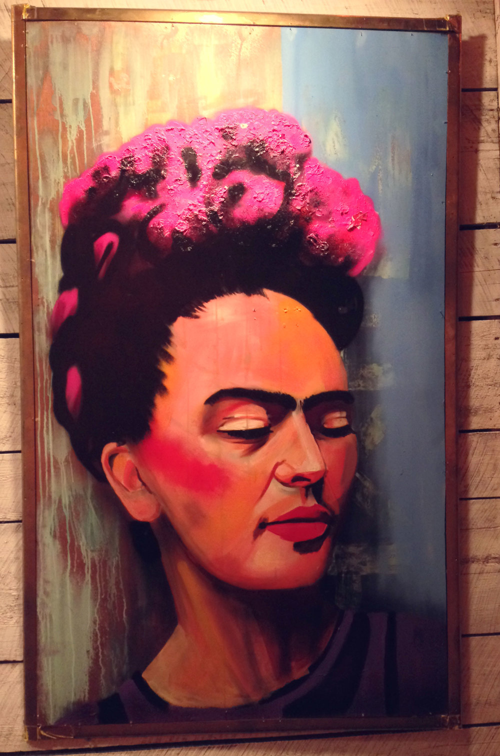 Frida  , currently on display at the restaurant La Esquina in Brooklyn.