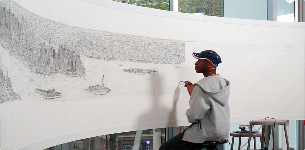Stephen Wiltshire drawing a panoramic view of NYC.