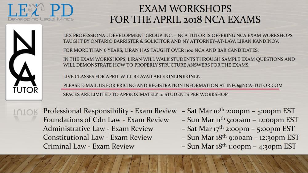 Exam Workshop Schedule - www.nca-tutor.com