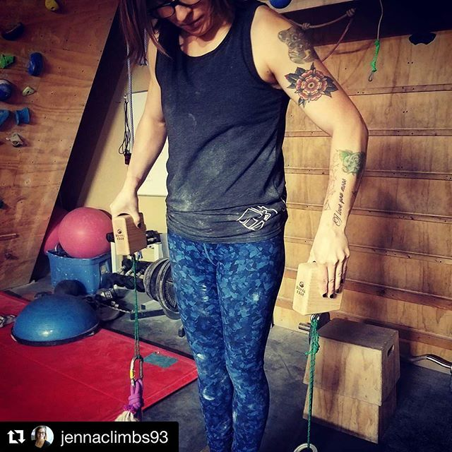 #Repost of @jennaclimbs93 training on the 175s. Looking tough! So glad you like them. (Love the ink too!) 💪#trainlikeagirl #climb #pinchblocks #girlswhoclimb #girlswhocrush ・・・ Psyched to start training with my new @royal_edge_climbing pinches. 😊 📸: @calebscheffer  #climbing