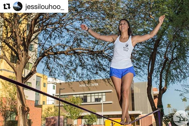 #Sunday #Funday. Rest days are just as important as training days, but that doesn't mean you can't have a lot of fun resting ;) our good friend @jessilouhoo_ showing off the slack line skillz #girlswhoclimb #girlswhocrush #climbing #optout  #Repost @jessilouhoo_ with @repostapp ・・・ Back at @gcu and ready for the semester! #gcu #lopesup #lopesrising 📸 @coleman_becker  @royal_edge_climbing #royaledge #pinchblocks