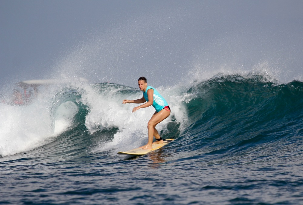 Virginie focused on her first day on Kuta reef