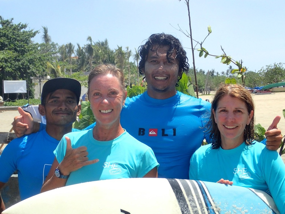 Post surf on Kuta Reef with our wonderful surf instructors - happy days!