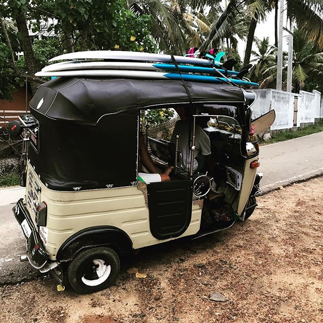 Chasing waves this morning Sri Lankan style!  Loving our local ride 🏄‍♀️