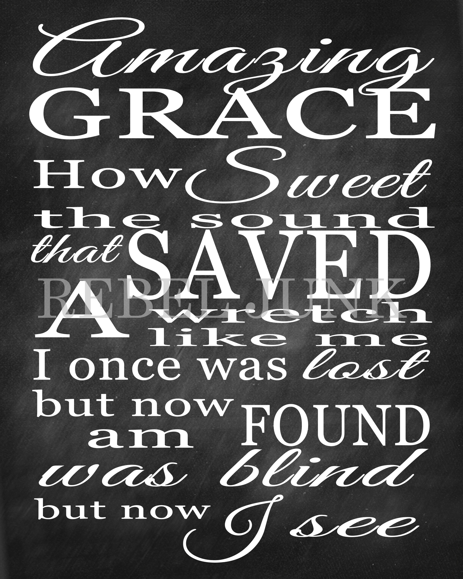Amazing Grace Wall Art 8x10 printable art print, chalkboard style amazing grace quote