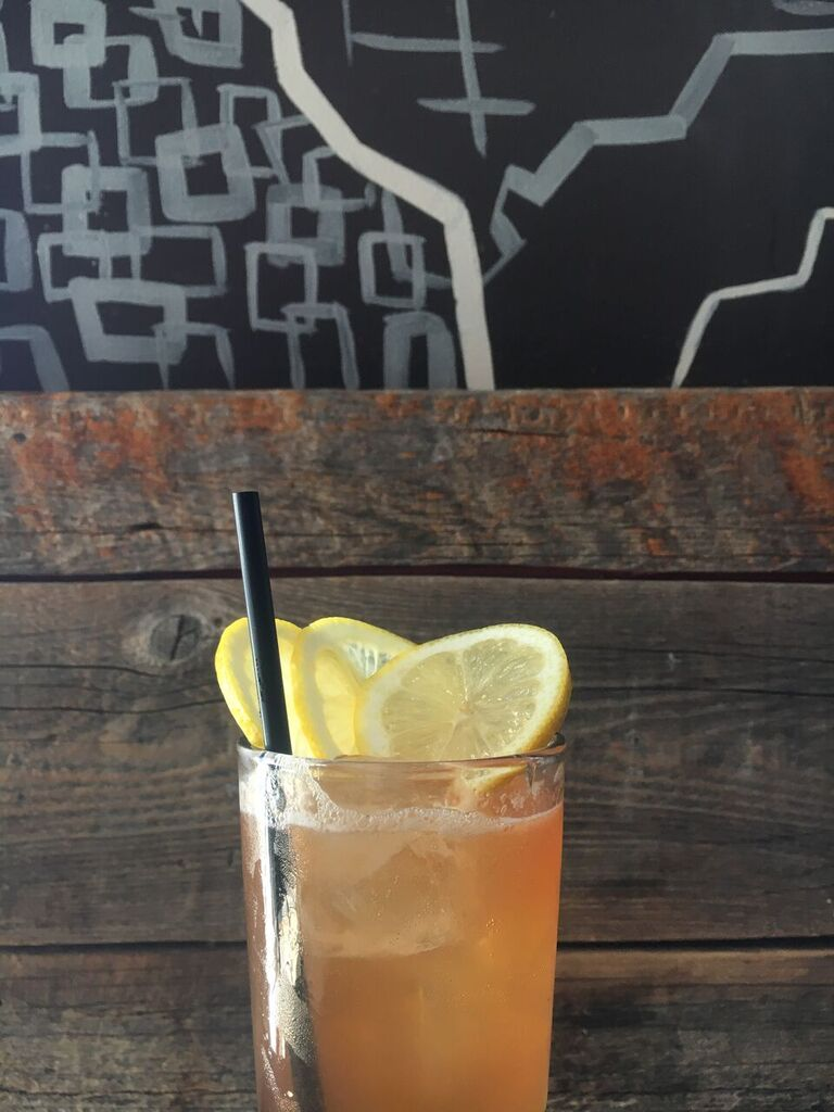 Here's Mamma's Apple Rye. Made with Old Overholt, Laird's Applejack Brandy, cinnamon, lemon, Whisky Barrel Aged Bitters and soda. No better way to describe it than an effervescent explosion of all things fall.