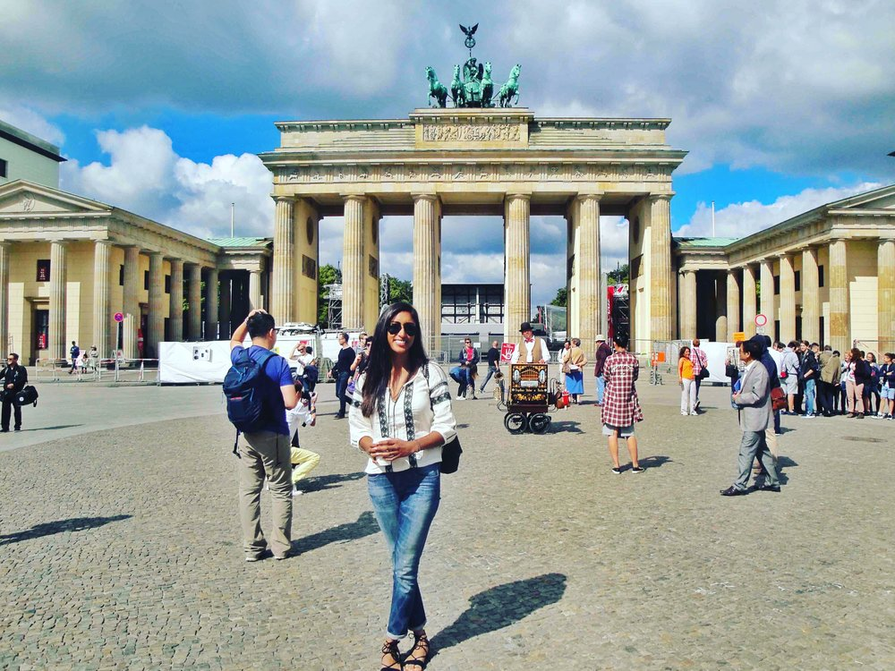 Another typical tourist photo at Brandenburg Gate in Berlin.