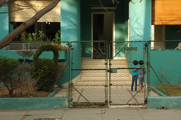 A couple of kids playing in the yard in Vedado, where I stayed.