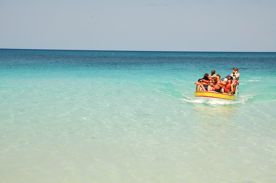 To get to the isolated beach, we had to drive three hours (hence the bus) then take a boat for 25 minutes!