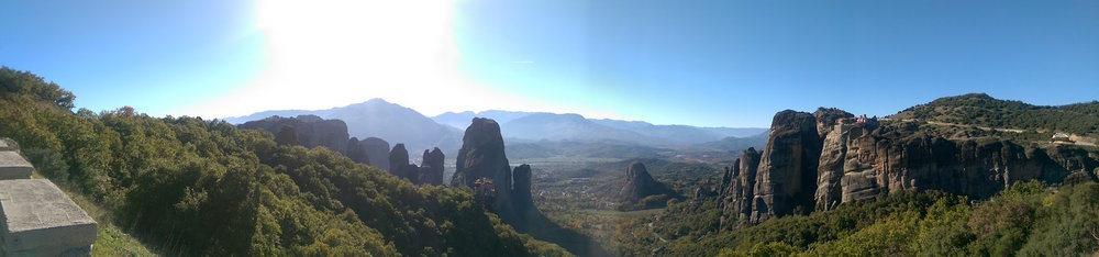 A panorama of Meteora doesn't do it justice, but I tried!
