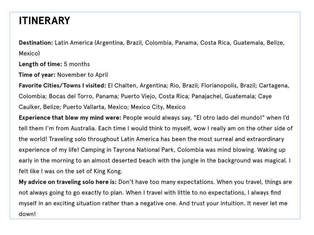 latin america itinerary