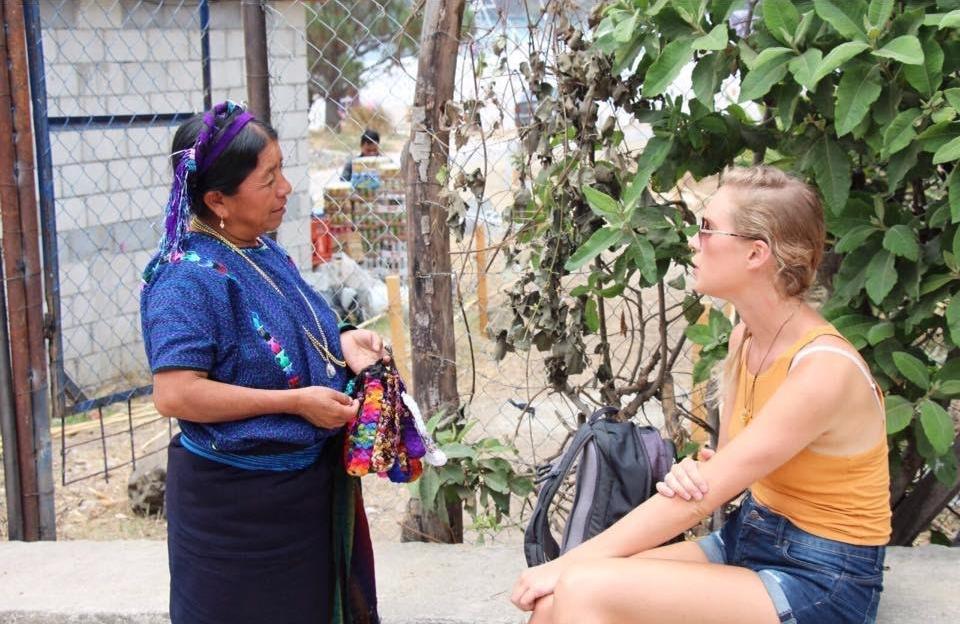 Chatting to a local Guatemalan woman in Panahajel