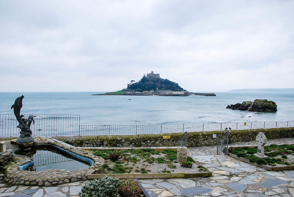 I took the bus to Penzance from St Ives, then I continued to Marazion to see St Michael's Mount.  It was a rainy and blustery day, which made me even more thankful for the stunning weather I'd had the day before in St Ives.  I took this while waiting for my bus back to Penzance, where I enjoyed a very Cornish tea, complete with scones, jam, and of course, Cornish cream.