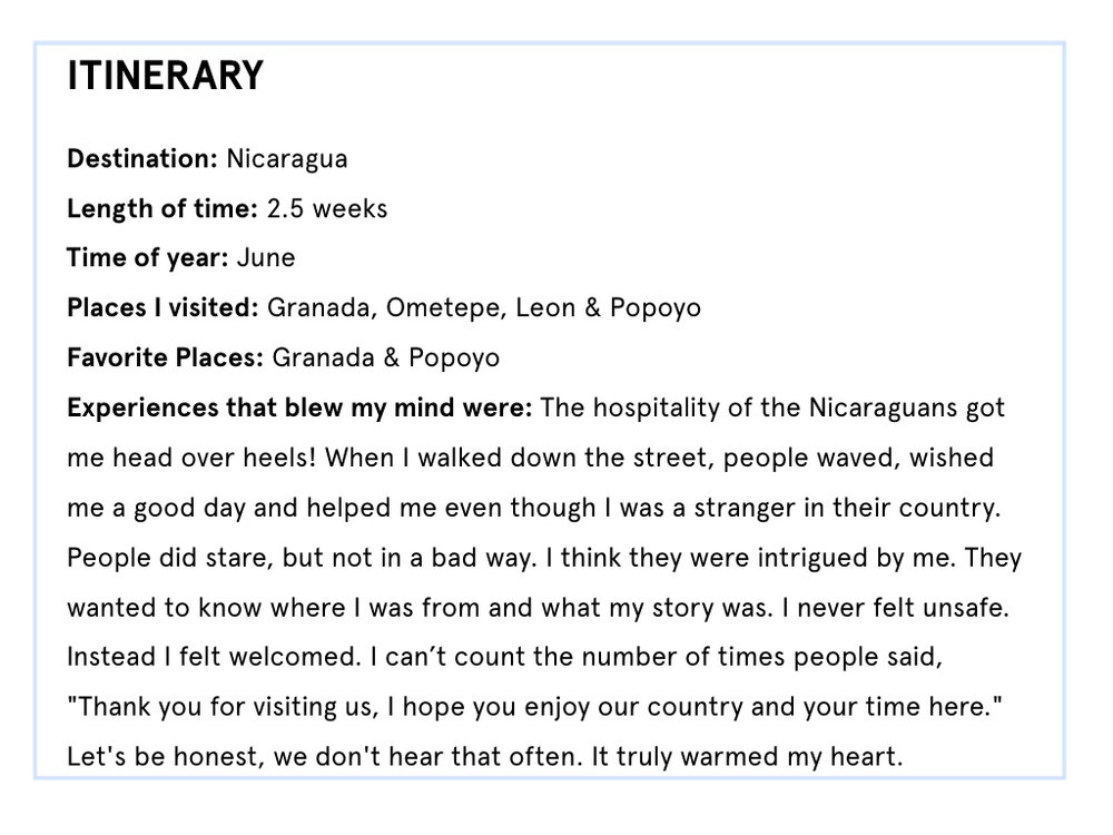 Nicaragua itinerary part 1