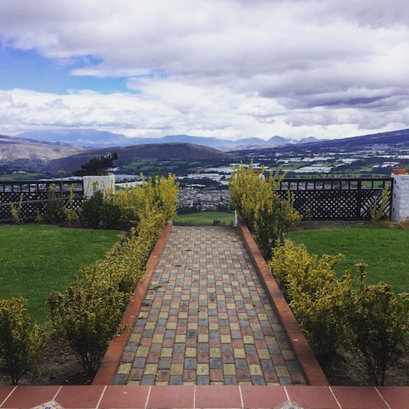 A view of Cayambe from our beautiful Hacienda. Estoy en el cielo!