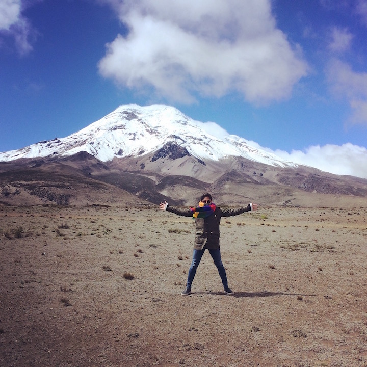 13,000 ft in the sky and feeling on top of the world. Chimborazo Volcano to my back.