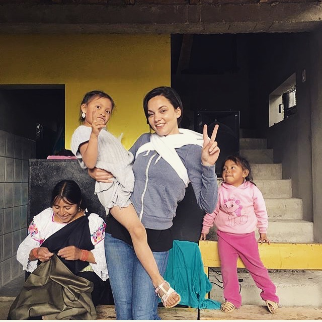 My host family and I in Cotacachi. I basically played babysitter the whole time. In fact, I have a doll tied to my back. Such an awesome experience.