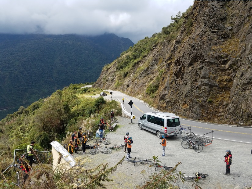 Biking down the Abra Malaga pass during a 4-day trek to Machu Picchu.